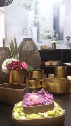 FUSION gold, at Furniture China, in Shanghai, Sept 2014, flower arrangement by KAMON (Japan)