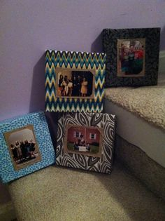 Fabric covered canvas with burlap photo holders! I used 6x6 canvases and wallet size photos! Super cute wall art for my apartment!