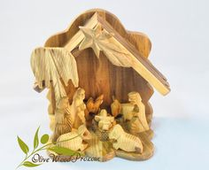 Olive wood hand carved Christmas tree nativity by OliveWoodPro