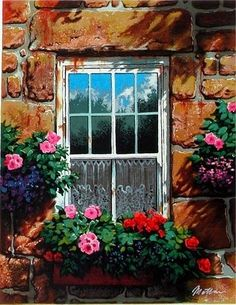 Beyond Our Window by Anatoly Metlan is a Limited Edition Fine Art Serigraph Print on Paper, Numbered in Sequence out of a total Edition Size of only is Hand Signed by the Artist, and includes a Certificate of Authenticity. Window Cards, Window Boxes, Monet Paintings, Cool Landscapes, Print Artist, Pictures To Paint, Painting Inspiration, Home Art, Flower Art