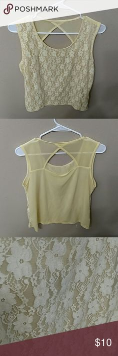 Lace shirt Beautiful yellow lace top. No tears or stains. It is semi see through. Size medium Tops