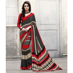 Crepe Printed Black & Red Designer Saree - 39015 25% OFF very low price in indiarush and Free Shipping Eligible For Cash on Delivery. Deliver in 4 - 5 Days.!!! #bestdesignersarees