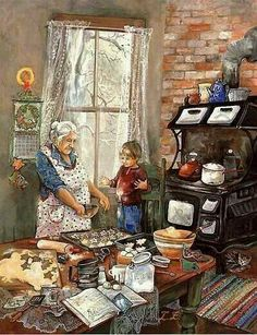 All the little details. It makes me think of being a kid at my grandma's house baking Christmas cookies. My grandma was always cooking or baking. I miss those wonderful days. God bless all the grandma's off the world. Christmas Scenes, Christmas Art, Vintage Christmas, Christmas Cookies, Illustrations, Illustration Art, Arte Country, Norman Rockwell, Kitchen Art
