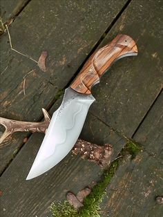 Giedymins big knives  Zebrano handle. about 10 in. overall length. Vulcanized fiber. Mosaic brass pins. 1075 carbon tool steel.