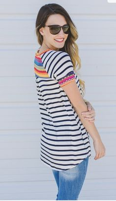 ~~~LOVE this striped shirt--the back detail is adorable!  Ask your stylist for pieces just like this in your next fix!  Stitch fix spring summer trends #stitchfix #affiliatelink