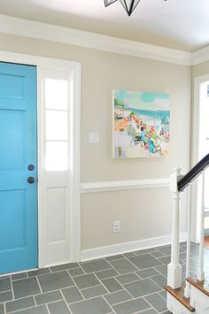 Love the combo of turquoise door and neutral walls.  Looking for the right color for our front door.