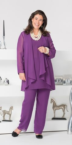 Veromia purple chiffon jacket, vest and trouser