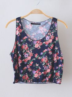 Shirt: top, tank top, floral, blue, pink, purple, crop, tumblr ...