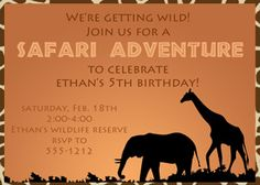 Safari Party Invitations by passforparties on Etsy Jungle Theme Parties, Jungle Theme Birthday, Safari Theme Party, Jungle Party, 3rd Birthday Parties, Party Themes, Party Ideas, Jungle Safari, Birthday Ideas