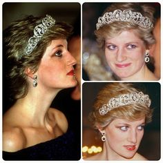 """English beauty: The Princess of Wales attends a banquet at the Ajuda Palace in Lisbon, Portugal, 11 February 1987."