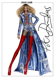 Have a look at the sketch of the #RobertoCavalli by Peter Dundas custom made total look worn by Beyonce during her performance at The Formation World Tour in Stockholm, Sweden.