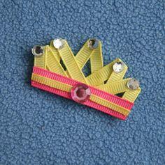 Princess Crown, Tiara,  Ribbon Sculpture Hair Clip Small or Large