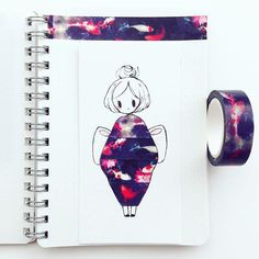 #washitape kimono in a tiny muji notebook!