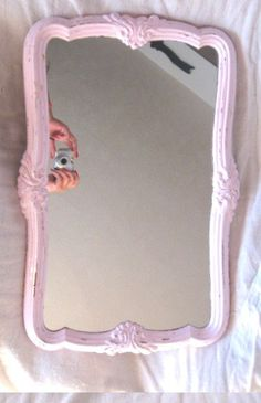 Shabby Pale Pink Lg Wall Mirror Vintage 1970's Very Ornate Hand Painted Chic Chippy Homco Cottage Paris Victorian Flourishes Cottage Romance by VintageChicPleasures on Etsy