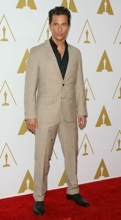 Matthew McConaughey wore a handsome tan Hugo Boss suit at the 2014 Academy Awards Nominees Luncheon | Trend 911