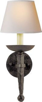 "Circa Lighting 'Iron Torch' sconce (h: 18"" x w: 8""; backplate: 5 1/2"" round)"