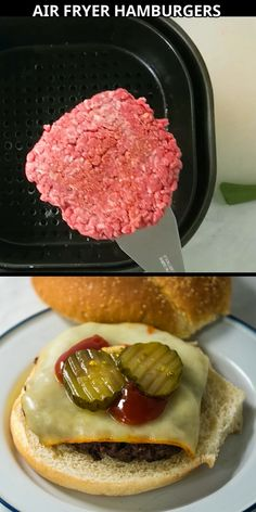 Air Fryer Recipes Potatoes, Air Fryer Oven Recipes, Air Frier Recipes, Burger Fresh, Gourmet Burgers, How To Cook Hamburgers, Bacon Bacon, Hamburger Patties, Air Frying