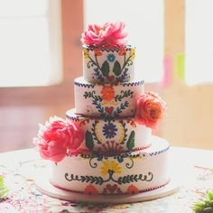 Colorful and folk art inspired tiered cake