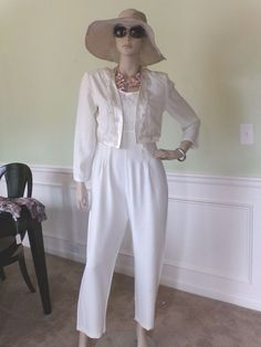 Richards Raro Vintage  Ivory Lace  Sleeveless  with a Bolero Jumpersuit size 8  #RMRicharsons #PantSuit