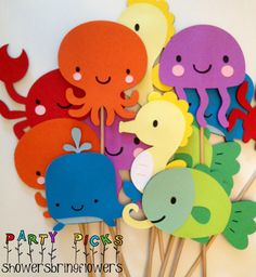 Under the Sea Party Picks Set of 12 by ShowersBringFlowers Mermaid Under The Sea, Under The Sea Theme, Under The Sea Party, Ocean Party, Water Party, Summer Crafts, Crafts For Kids, Little Mermaid Parties, Mermaid Birthday