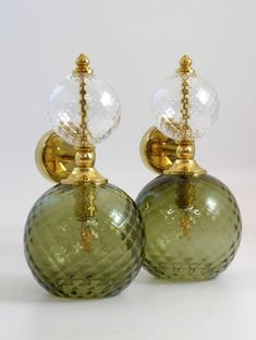 Green Colors, Colours, Colour Trends, Spring Green, Hand Blown Glass, Polished Brass, Colored Glass, Dream Homes, Wall Sconces