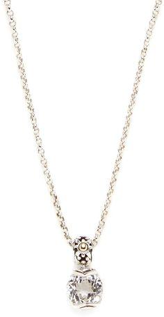 John Hardy Women's Batu Sari Silver, Gold & White Topaz Pendant Necklace