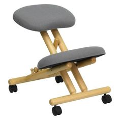 Mobile Wooden Ergonomic Kneeling Office Chair in Black Fabric (Black), Lancaster Home Office Stool, Desk Stool, Cool Office Desk, Office Chairs, Desk Chairs, Dining Chairs, Room Chairs, Ikea Office, School Chairs