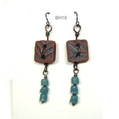 Ceramic Clay Dangle Earrings with Hand Made Red Stoneware Square Button Beads, Glass African Trade Beads, Copper Wire and Niobium Ear Wires