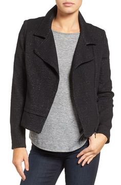 Free shipping and returns on Halogen® Jacquard Moto Jacket (Regular & Petite) at Nordstrom.com. Sewn from a speckled jacquard, this wear-with-everything jacket offers the edge of a classic moto style with the comfort of a cozy knit.