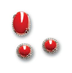 A red coral ring and earring suite  diamonds approximately 4.70 carats total Ring Watch, Red Gemstones, Coral Ring, Trendy Jewelry, Red Coral, Stone Earrings, Carnelian, Jewelry Rings, Gemstone Rings