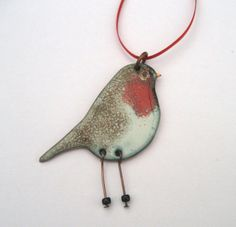 Christmas Tree decoration or necklace Robin with Dangly legs - Enamelled on copper