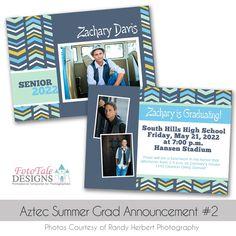 Aztec Summer Graduation Announcement custom photoshop templates for photographers Graduation Announcement Template, Graduation Templates, Graduation Announcements, Senior Boys, Card Templates, Photo Cards, Aztec, Photographers, Designers