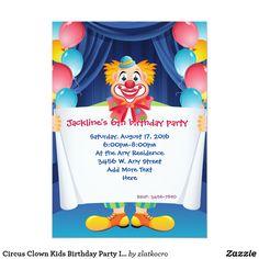 Circus Clown Kids Birthday Party Invitation 5x7