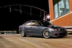 E46 steel blue sedan