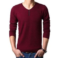 M-4Xl Winter Henley Neck Sweater Men Cashmere Pullover Christmas Sweater Mens Knitted Sweaters