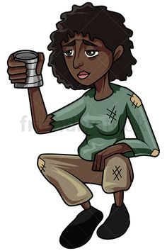Black Woman Begging For Money: Royalty-free stock vector illustration of a penniless African-American female beggar wearing torn clothes, extending her hand while holding a metal can, asking for some money. #friendlystock #clipart #cartoon #vector #stockimage #art #homeless #outcast #beggar #poor #isolated