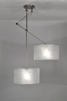 suspension 30100: moderne, classique, design, acier poli, etoffe, gris, argent, rond ...