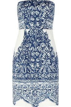 J.Crew Ella strapless printed cotton-blend piqué dress | NET-A-PORTER