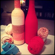Use empty wine bottles to decorate your home! All you need is an empty wine bottle, yarn, a glue gun and a steady hand!