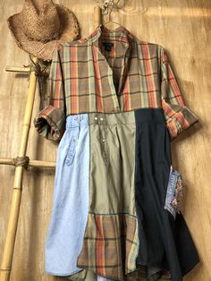 Lovely flannel womens dress/tunic, so comfortable funky and fun, the top is a repurposed J Crew shirt and the bottom is patchwork cotton denim and flannel, has a fun pocket. The hem is uneven for a shabby chic look. Has ties in the back to add with styling and size, can be removed