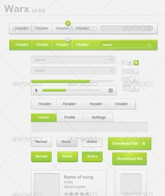 Warx UI Kit #GraphicRiver All the elements needed to create a full and clean website! Can be easily edited and customized! File includes: - Website template (easily editable and customizable) - Many kinds of buttons - Appealing download buttons - Sign in mock-ups - Many icons - Tabs - Headers (Navigation bars) - Text boxes - Search boxes - Music boxes - Portfolio page - Portfolio boxes - Message viewer - Progress bar - Video player bar - Switches (circle and squared) This easy to use…