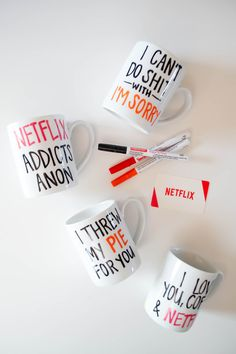 DIY Netflix Coffee Mugs, a Great Last Minute Holiday Gift! | Our Holly Days