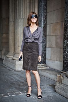 Carine Roitfeld after the Louis Vuitton show in Paris.