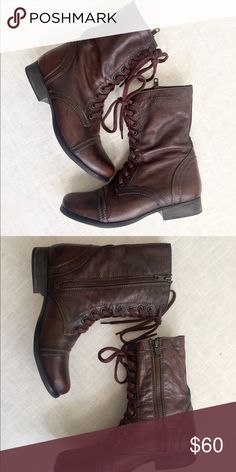 Steve Madden Troopa Boots *Like NEW condition*! Worn once Leather upper  Zipper closure