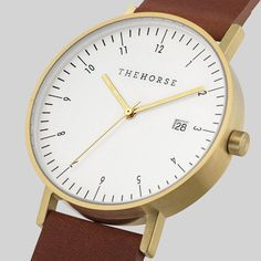 D-Series - Swiss Movement - The Horse Watch - Brushed Gold / Tan Leather - NZ Stockist