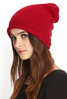 Red Roll-Brim Knit Beanie | FOREVER21 - $3