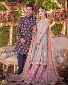 Beautiful Pakistani Wedding Couple Folk dresses, traditions and celebration.