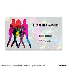 12 best business cards designs images on pinterest business card dance class or teacher colorful business card reheart Images