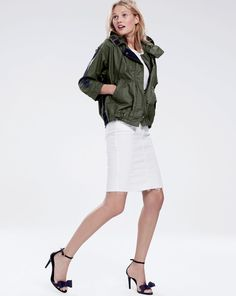 J.Crew women's cinched swing jacket, pencil skirt in stretch denim with raw edge and fabric bow heels. To preorder call 800 261 7422 or email verypersonalstylist@jcrew.com.