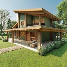 Village House Design, Village Houses, Exterior Design, Roof Design, Exterior Paint, Modern Small House Design, Home Design Plans, House In The Woods, Log Homes